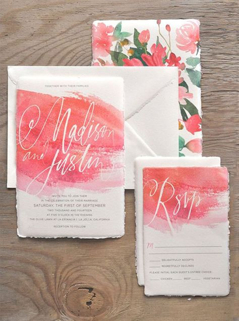 Diy Watercolour Cards Wedding Invitation Inspiration Watercolor