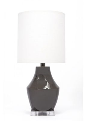 Gallery Designs Lighting Oyster Linen Shade On Gauntlet Gray