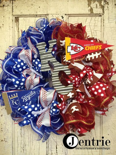 Kansas City Royals/Chiefs Wreath KC Front Door by JentrieDesigns