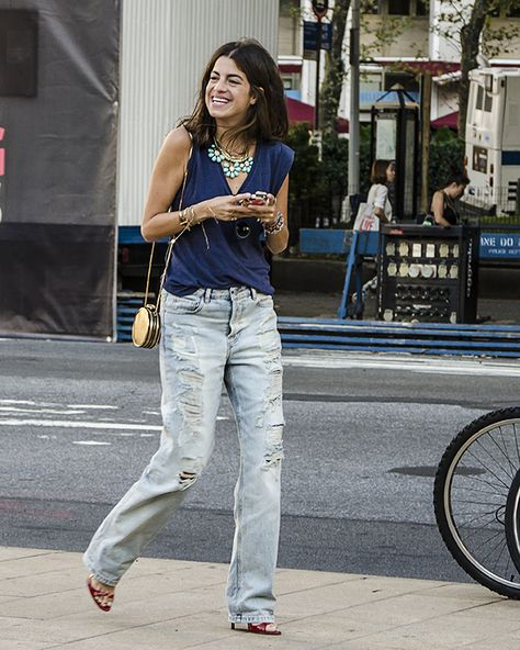 oh awesome! Leandra kickin around in some fab destroyed denim in NYC.