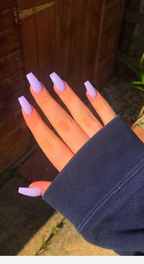 manicure Long nails for Fall season acrylic nails coffin long Purple Acrylic Nails, Acrylic Nails Coffin Short, Best Acrylic Nails, Acrylic Nail Designs, Coffin Acrylic Nails, Purple Nail Designs, Acrylic Nails For Summer, Periwinkle Nails, Light Purple Nails
