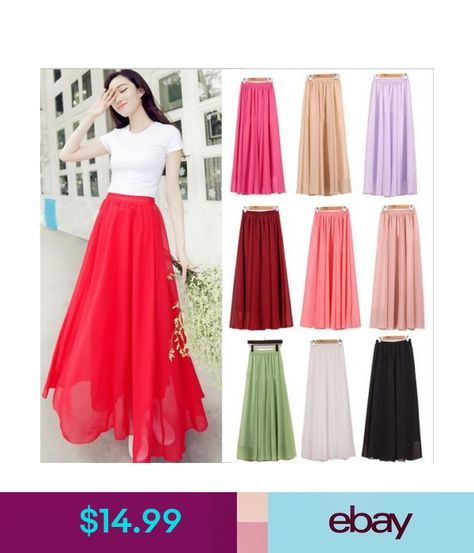 7d9b0858db36c Skirts 2016 Women Chiffon Long Skirts Candy Color Pleated Maxi ...