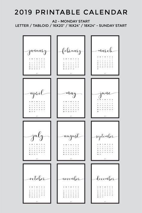 Minimalist Calendar 2019 Printable Print It On White Or Kraft