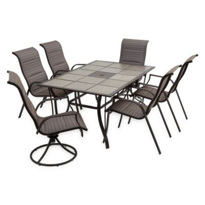 Traditional Brown 7 Piece Patio Dining Set Castle Rock Patio Dining Set Patio Dining Swivel Dining Chairs