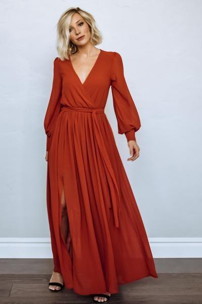 Celine Maxi Dress In Rust In 2020 Dresses Beautiful Dresses