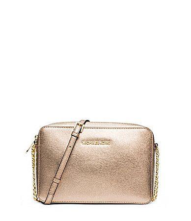 Michael Michael Kors Jet Set Travel Metallic Large CrossBody Bag #Dillards  | Maroon and Gold | Pinterest | Large crossbody bags, Michael kors jet set  and ...