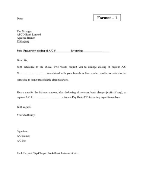 Valid Letter Format For Bank Account Cancellation Letter