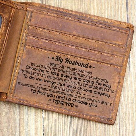 Great Gift For Husband Engraving Leather Wallet | Perfect Gift For Your Husband by HeavenKP, $38.99 USD