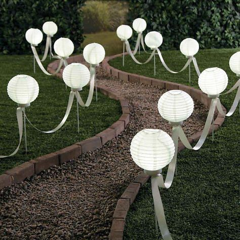 all white party Light up the night with these balloons! Unique paper lanterns that are an exquisite addition to your wedding dcor, graduation party or outdoor birthday celebration, they Outdoor Wedding Decorations, Cheap Backyard Wedding, Ceremony Decorations, White Party Decorations, Backyard Wedding Decorations, Backyard Wedding Receptions, Small Backyard Weddings, Outdoor Wedding Lights, Outdoor Party Decor