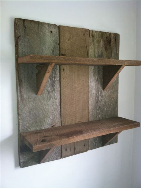 Barnwood shelf I could make with my son to teach him wood working skills.