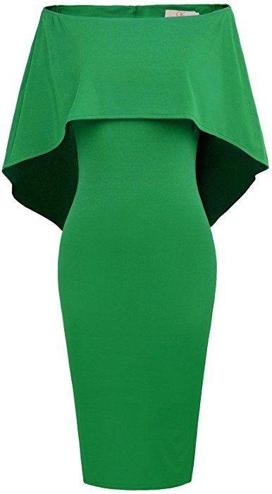 GRACE KARIN Women/'s Off Shoulder Pencil Dress Batwing Cape Cocktail Dress Size M