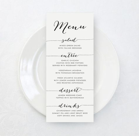 Printable Custom Wedding Menu Card Diy Tea By Karlykdesignshop Wedding Menu Cards Diy Wedding Menu Wedding Menu