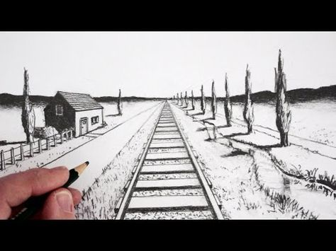 How To Draw Easy And Simple Landscape For Beginners With Pencil Youtube Landscape Sketch 1 Point Perspective Perspective Drawing