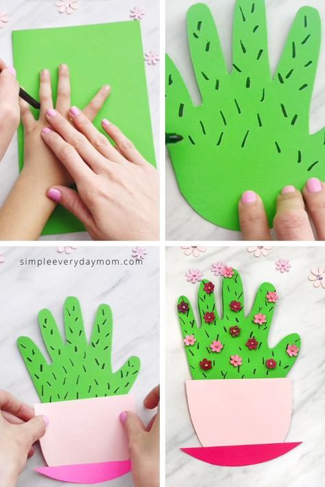 Mothers Day Crafts For Kids Discover Handprint Cactus Card Make this cute handprint cactus DIY Mothers Day card for a sweet memento for Mom or Grandma. Its easy for preschool kindergarten & elementary children.