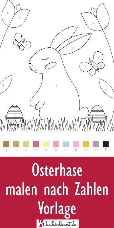 Osterhase Ausmalbild Osterhase Malvorlage Pdf Malen Nach Zahlen Osterhase Malen Osterhasen Basteln Vorlagen
