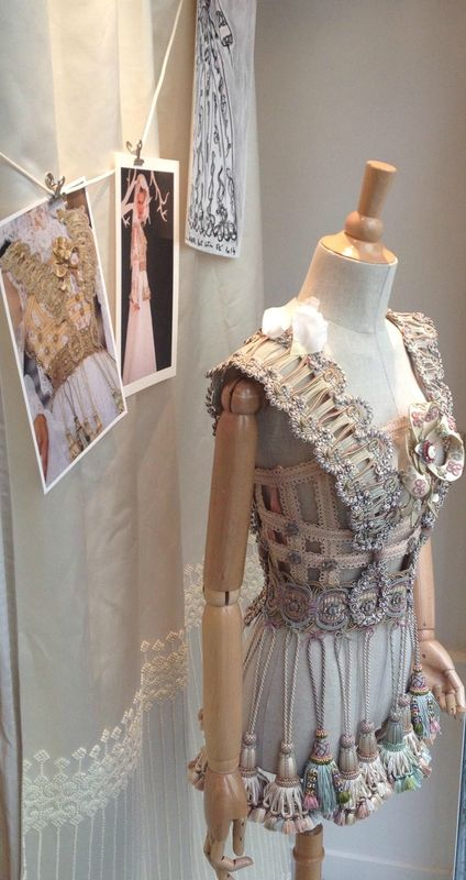 Gorgeous window display outfit by Franck Sorbier for Declercq