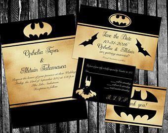 Bat Man Inspired Elegant Faux Gold Foil Wedding Invitation Save The Date Rsvp And Th Batman Wedding Batman Wedding Invitations Gold Foil Wedding Invitations