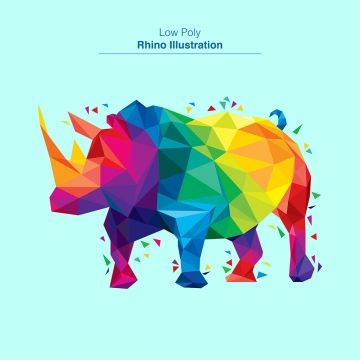 Colorful Low Poly Rhino Design Zoo Animals Clipart Rhino Low Png And Vector With Transparent Background For Free Download Geometric Animals Rhino Illustration Graphic Design Background Templates