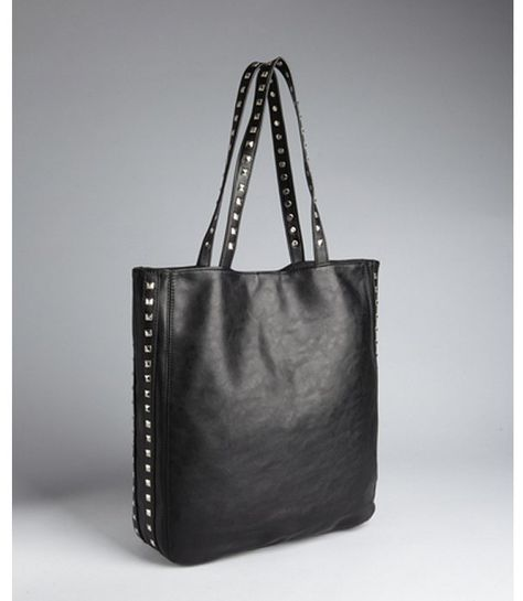 7d1bd80cde81 Wyatt black vegan leather pyramid studded tote bag on shopstyle.com ...