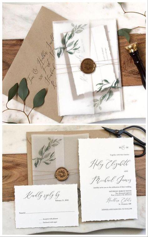 Rustic Greenery Wedding Invitations Vellum Wedding | Etsy