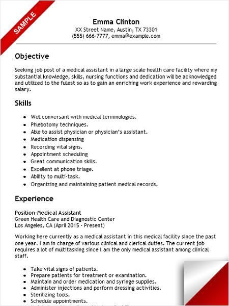 Physician Assistant Resume Medical Assistant Resume Sample  Resume Examples  Pinterest