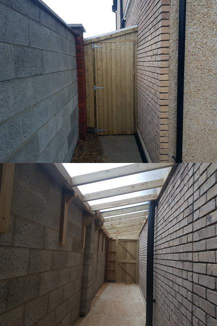 Lean To Shed Malahide Side Passage Sheds Mac Carpentry In 2020 Lean To Shed Lean To Shed Design