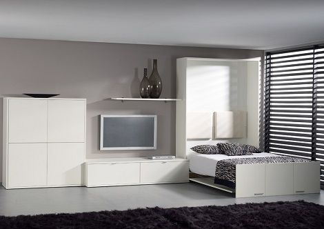Linea conventa opklapbed wit met tv kast bureau plank bedkast