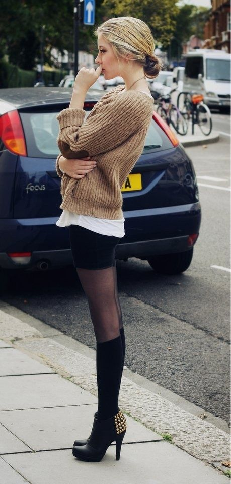 black pencil skirt, boots, white oversized tee, brown or tan sweater