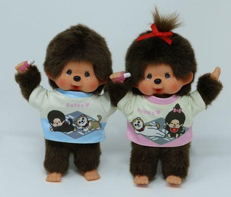 PAIR Sekiguchi Monchhichi S Size MCC Plush Rainbow Tee Overall Boy /& Girl