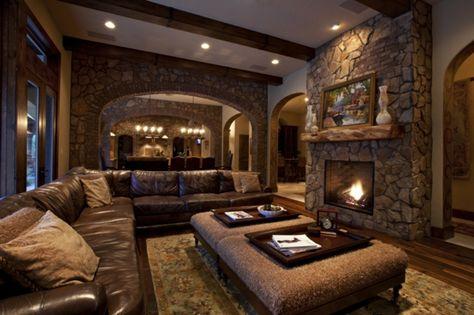 Wohnzimmer ideen rustikal  wohnzimmer-rustikal- braune-farbe | Wohnideen | Pinterest | braune ...