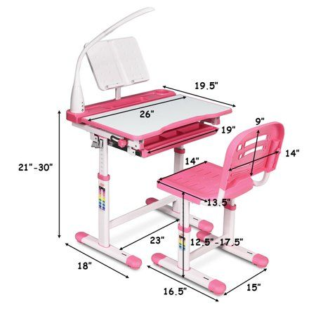 Gymax Height Adjustable Kids Desk Chair Set Study Drawing W Lamp Bookstand Pink Walmart Com In 2020 Desk And Chair Set Kids Desk Chair Kids Desk