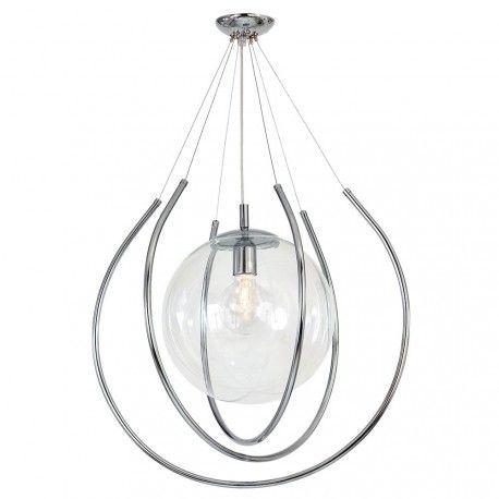 Lampa Wiszaca 1 Pl From Chrom Duza Kula Sufitowa Zyrandol E27 Plafon Przezroczysty Ceiling Pendant Lights Globe Lights Pendant Lighting