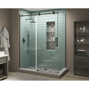 Coraline Xl 56 W X 80 H Single Sliding Frameless Shower Door In 2020 Shower Doors Frameless Shower Doors Glass Shower Doors Frameless