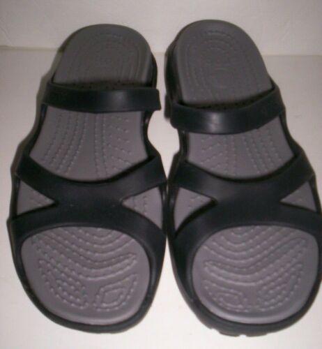 New Women S Crocs Meleen Strappy Slide Sandal Shoes Size 8 Black Gray Insole In 2020 Women S Crocs Slide Sandals Brown Wedge Sandals