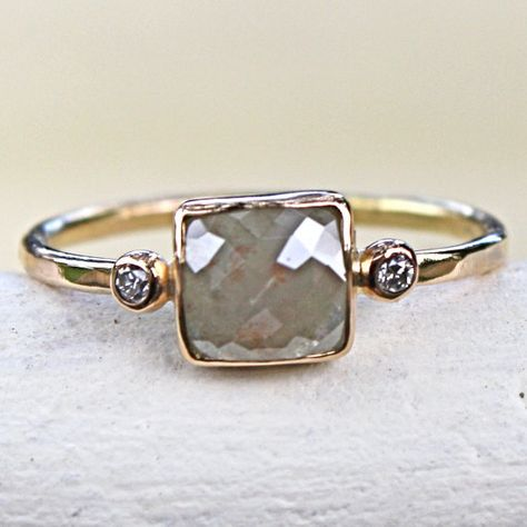 Diamond Ring- Rose Cut Diamond Slice in Gold- Engagement Ring