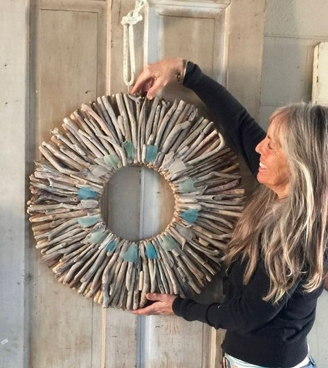 26 Driftwood Wreath with Sea Glass Turquoise Aqua and | Etsy