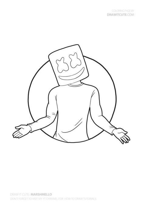How to draw Marshmello super easy | Fortnite Season 7 Drawing Tutorial – Draw it cute