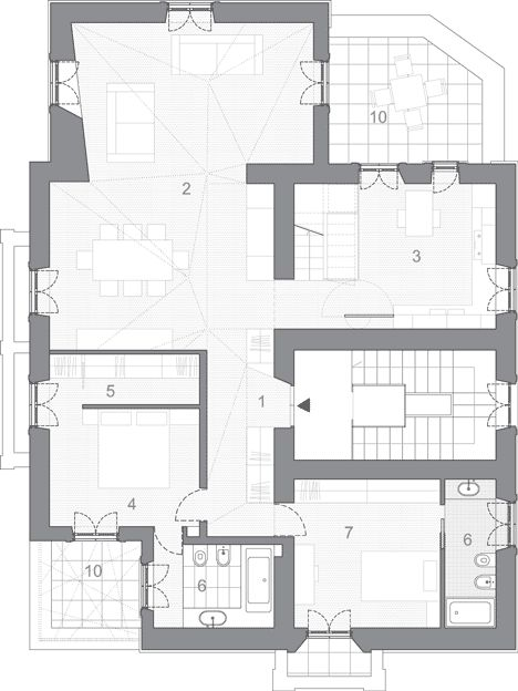 Ground Floor Plan Of Renovated Apartment In Rome By Scape Rome Apartment Italian Farmhouse Old Apartments