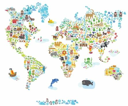 Map Wall Decal, Kids Map Wall Decal, Animal Map Wall Decal, Map with - copy world map wallpaper for mobile