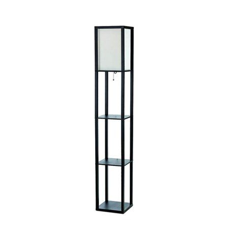 Simple Designs Etagere Organizer Shelf Floor Lamp With Linen Shade