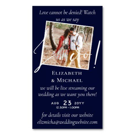 25 X Magnetic Wedding Livestreaming Save The Date Business Card Magnet Zazzle Com In 2020 Magnetic Business Cards Save The Date Fun Wedding Invitations