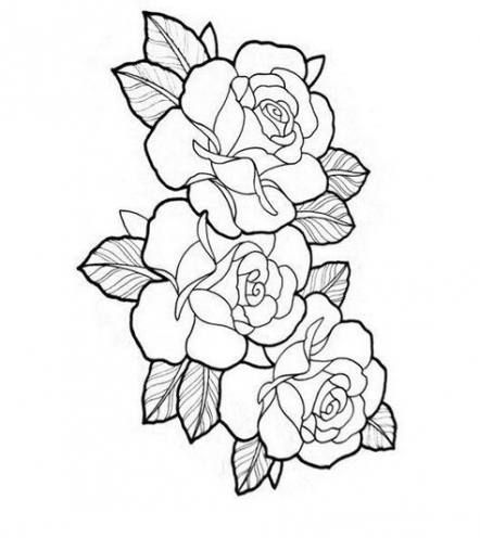 Trendy Flowers Design Outline Rose Tattoos Ideas Rose Tattoos Rose Tattoo Design Rose Tattoo Stencil