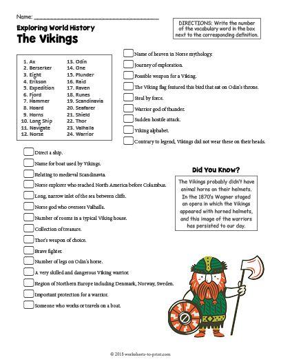 Free Printable The Vikings History Worksheet History Worksheets Worksheets For Kids Social Studies Worksheets Social studies worksheets