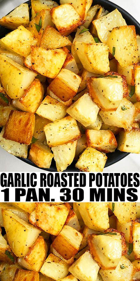 roasted potatoes oven - roasted potatoes _ roasted potatoes in oven _ roasted potatoes and carrots _ roasted potatoes in air fryer _ roasted potatoes and asparagus _ roasted potatoes oven _ roasted potatoes and green beans _ roasted potatoes russet Russet Potato Recipes, Healthy Potato Recipes, Roasted Potato Recipes, Scalloped Potato Recipes, Potato Side Dishes, Oven Recipes, Cooking Recipes, Roasted Potatoes In Crockpot, Quick Roast Potatoes