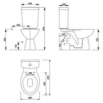 dimensions of a standard toilet. Image from http thebestdecor com images 182369 standard toilet size  dimensions jpg bathroom Pinterest