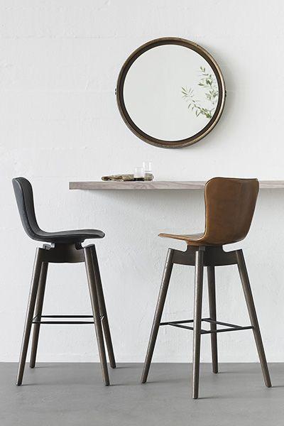 chaise de bar shell cuir et bois