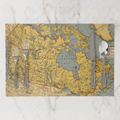 Antique Map Of Canada Paper Placemat Zazzle Com Antique Map Map Placemats