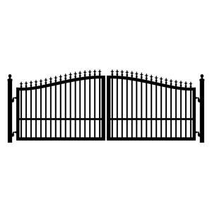 Mighty Mule St Augustine 16 Ft W X 5 Ft H 2 In Powder Coated Steel Dual Driveway Fence Gate G2516 Kit The Home Depot Wrought Iron Driveway Gates Driveway Fence Driveway Gate