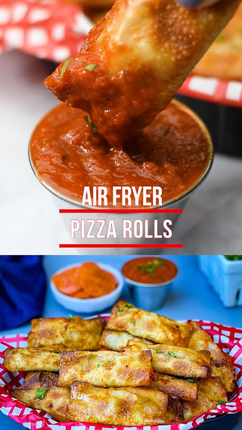 Air Fryer Pizza Rolls is a quick and easy homemade recipe with sausage, pepperoni, and gooey melted mozzarella cheese. Trade in the deep fried Totinos bites for these healthy snacks. This post includes instructions on cook time and how long to cook frozen rolls. #AirFryer #AirFryerPizzaRolls #AirFryerPizza