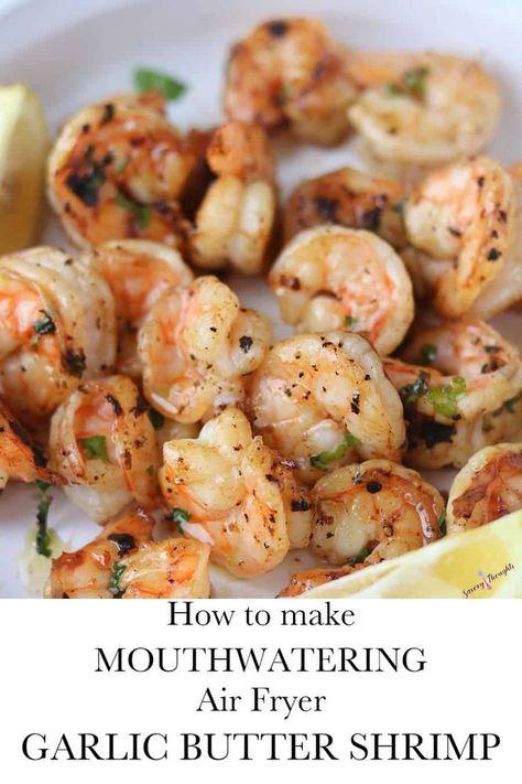 Buttered Shrimp Recipe, Garlic Butter Shrimp, Air Fryer Recipes Shrimp, Air Fryer Oven Recipes, Air Frier Recipes, Air Fryer Dinner Recipes, Grilled Shrimp Recipes, Seafood Recipes, Simple Shrimp Recipes
